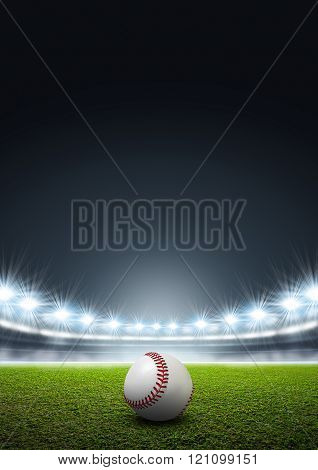 Generic Floodlit Stadium With Baseball