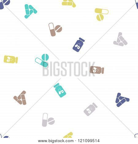 Pills Seamless Flat Glyph Pattern