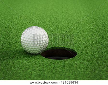 Golf Ball Standing Near The Hole