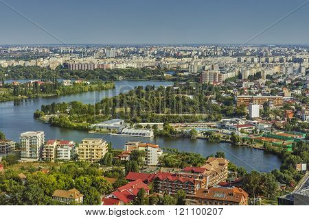 Aerial city view of Bucharest Northern Side
