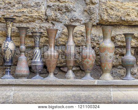 Ancient Jugs Sold In Baku On The Street.azerbaijan