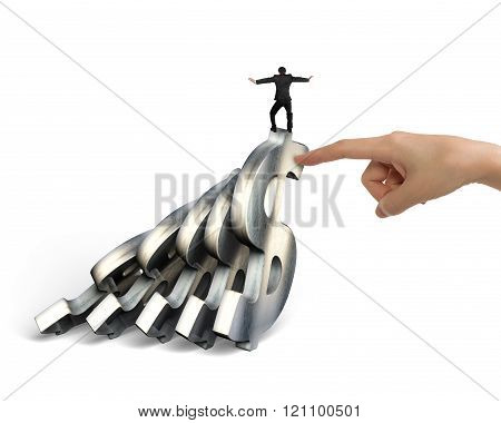 Businessman Balancing Falling Dollar Symbols With Woman Hand Helping