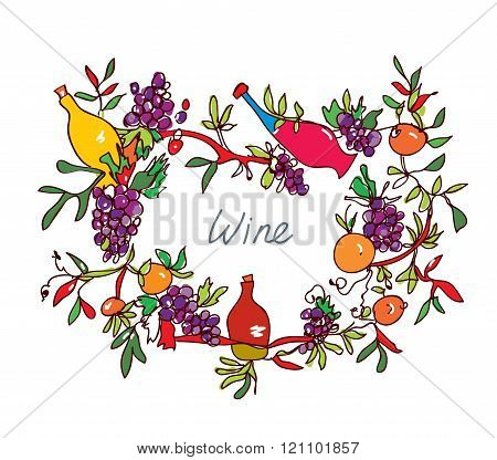 Frame For Wine With Leaves And Bottles - Ornamental Illustration