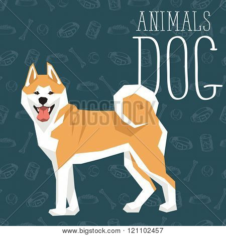 Vector geometric dogs collection with seamless background. Akita