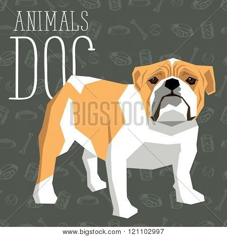 Vector geometric dogs collection with seamless background. British Bulldog
