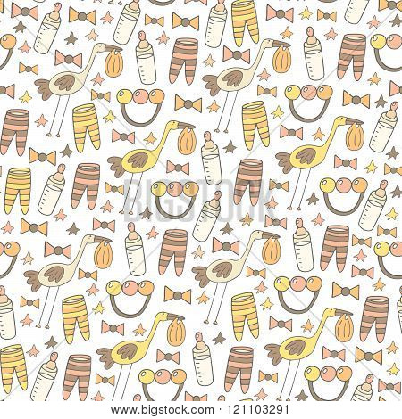 Cute hand drawn doodle seamless pattern with baby shower objects