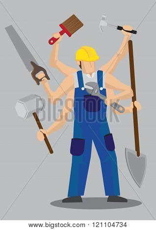 Superhuman Worker Cartoon Character Vector Illustration