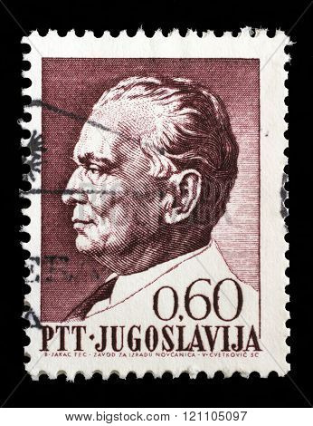 ZAGREB, CROATIA, SEPTEMBER 13: Stamp printed in Yugoslavia shows a portrait of Yugoslavian President Josip Broz Tito, from series 75th birthday, circa 1967, in Zagreb, Croatia on September 13, 2014.