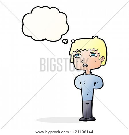 cartoon unhappy man with thought bubble