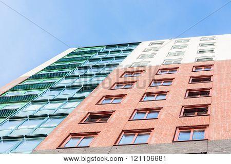 Colorful facade view of a skyscraper