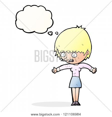cartoon woman panicking with thought bubble