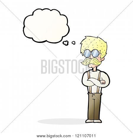 cartoon hipster man with mustache and spectacles with thought bubble