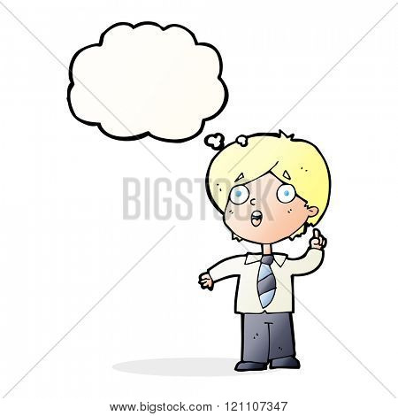 cartoon schoolboy answering question with thought bubble
