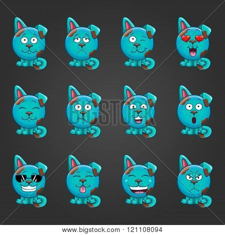 Set Cute Cartoon Dog With Different Emotions