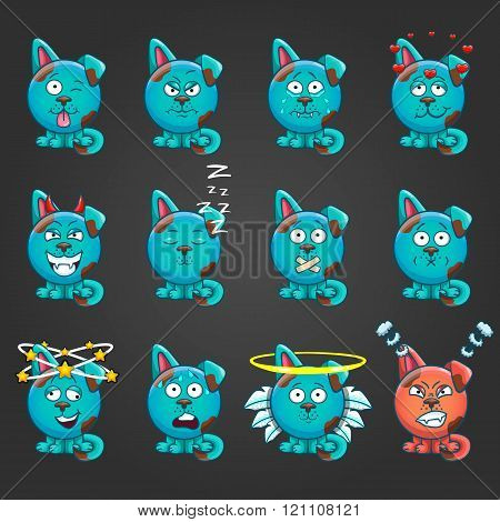 Set Cute Cartoon Dog With Different Emotions-2
