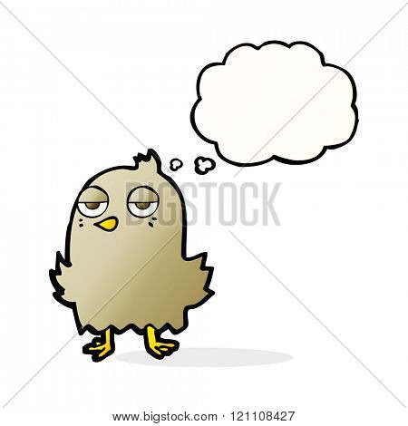 cartoon bored bird with thought bubble