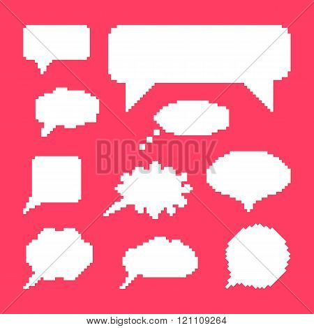 white speech bubbles set on pink background