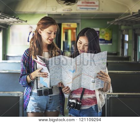 Girls Traveler Adventure Trip Vacation Concept