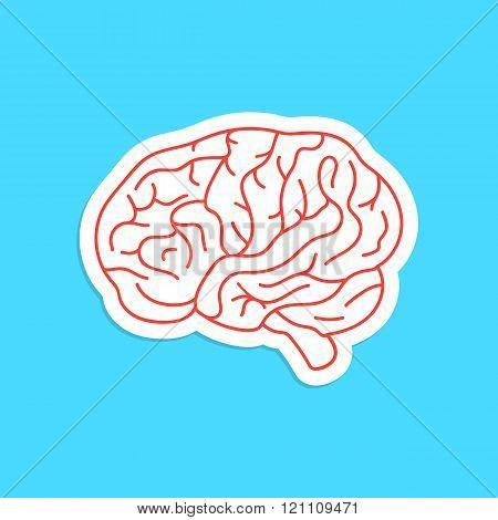red outline brain icon sticker