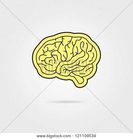 simple black and yellow brain