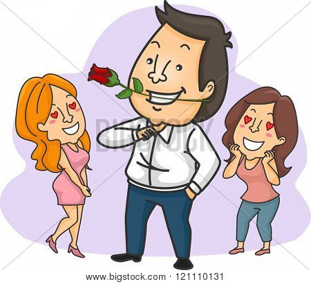 Illustration of a Man with a Rose Admired by Women