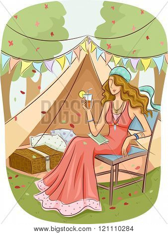Illustration of a Girl in a Bohemian Dress Relaxing at a Glam Camp