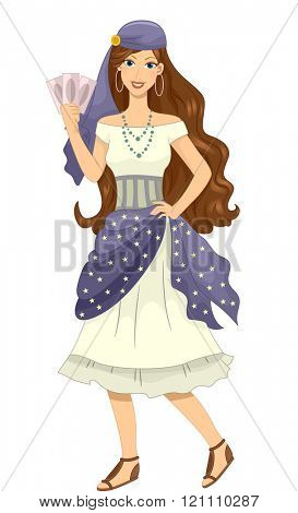 Illustration of a Girl in a Gypsy Costume Holding a Set of Cards