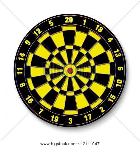 Dartboard raster illustration isolated on white background