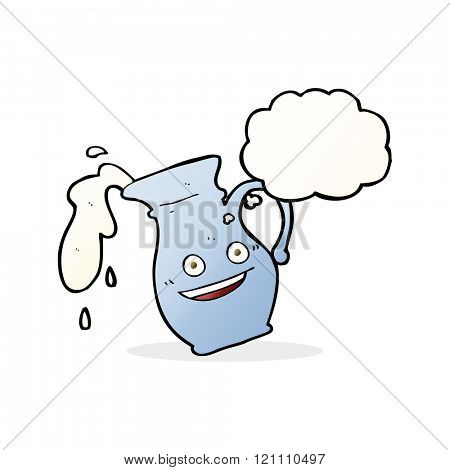 cartoon milk jug with thought bubble
