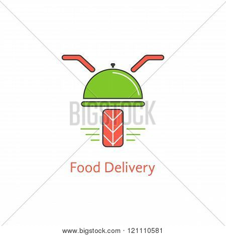 food delivery with motor scooter and dish