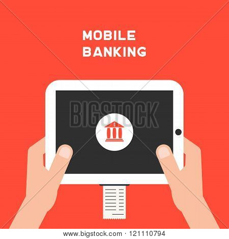 mobile banking with white tablet pc and paycheck