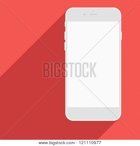 Realistic Mobile Phone With Blank Screen And Long Shadows.