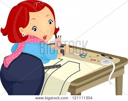 Illustration of a Plump Girl Creating a Sewing Pattern