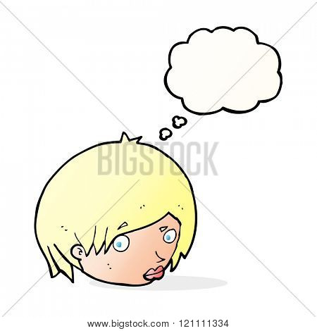 cartoon female face with raised eyebrow with thought bubble
