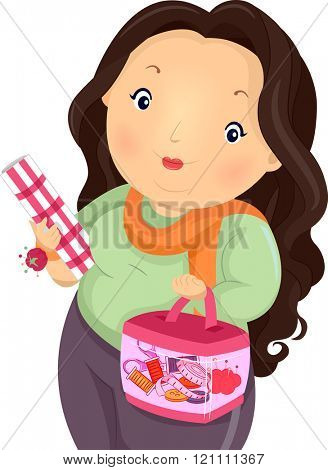 Illustration of a Plump Girl Carrying a Sewing Kit and a Roll of Fabric