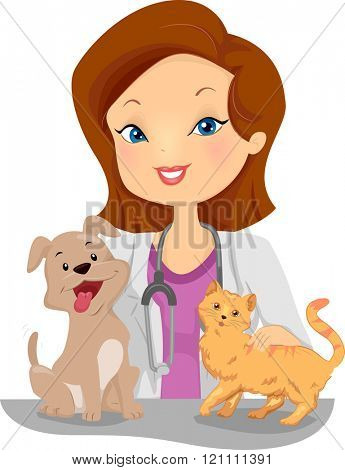 Illustration of a Female Veterinarian Examining a Cat and Dog