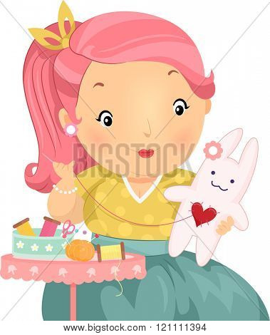 Illustration of a Plump Girl Making a Stuffed Bunny