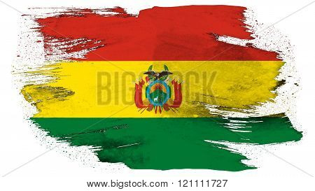 Flag of Bolivia , Bolivian flag painted with brush on solid background, ink texture.