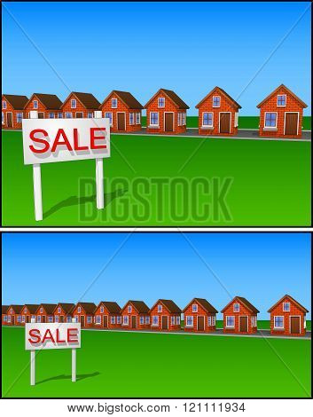 Icons And Cliparts Set Of Beautiful Houses Made Of Brick Sale All