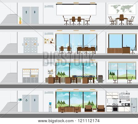 Cutaway Office Building With Interior Design Plan