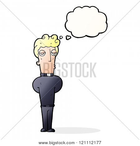 cartoon priest with thought bubble