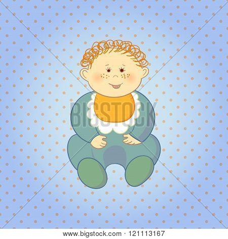Cartoon baby boy on dots background.
