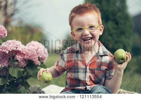 Laughing Boy On Picnic