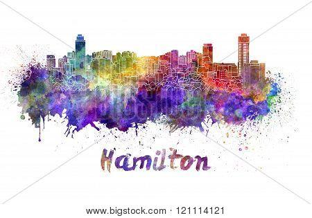 Hamilton Skyline In Watercolor