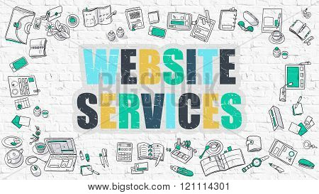 Website Services Concept. Multicolor on White Brickwall.