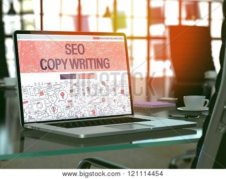SEO Copywriting Concept on Laptop Screen.