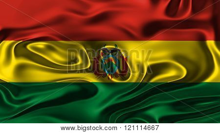 Flag of Bolivia , Bolivian flag painted on silk material