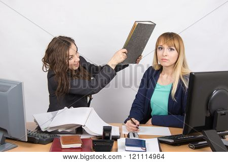 The Girl In The Office Has A Head Of His Colleague Big Folder