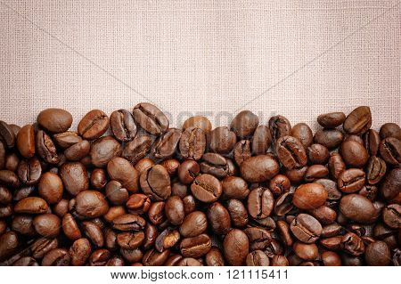 Coffee Beans On Linen Background