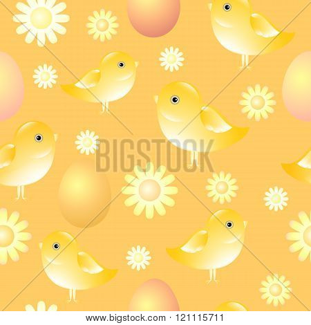 Easter background.  Seamless vector pattern with chicks, eggs and flowers.